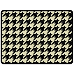 Houndstooth2 Black Marble & Beige Linen Double Sided Fleece Blanket (large)  by trendistuff