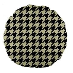 Houndstooth2 Black Marble & Beige Linen Large 18  Premium Flano Round Cushions by trendistuff