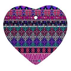 Tribal Seamless Aztec Pattern Ornament (heart)