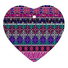 Tribal Seamless Aztec Pattern Heart Ornament (two Sides) by BangZart