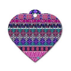 Tribal Seamless Aztec Pattern Dog Tag Heart (one Side)
