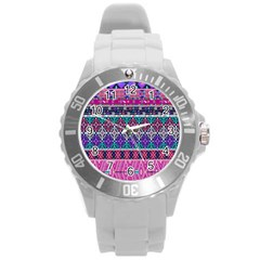 Tribal Seamless Aztec Pattern Round Plastic Sport Watch (l) by BangZart