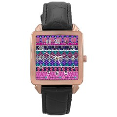 Tribal Seamless Aztec Pattern Rose Gold Leather Watch