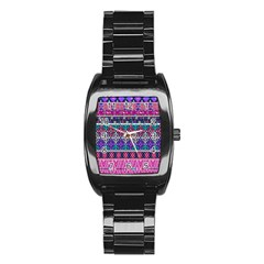 Tribal Seamless Aztec Pattern Stainless Steel Barrel Watch by BangZart
