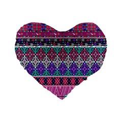 Tribal Seamless Aztec Pattern Standard 16  Premium Flano Heart Shape Cushions by BangZart