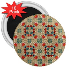 Traditional Scandinavian Pattern 3  Magnets (10 Pack)