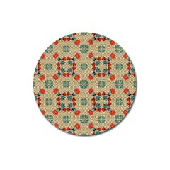 Traditional Scandinavian Pattern Magnet 3  (round)