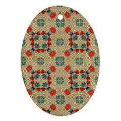 Traditional Scandinavian Pattern Oval Ornament (two Sides) by BangZart