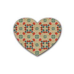 Traditional Scandinavian Pattern Rubber Coaster (heart)  by BangZart
