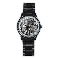 Tree Fractal Stainless Steel Round Watch