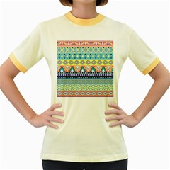 Tribal Print Women s Fitted Ringer T Shirts