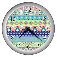 Tribal Print Wall Clocks (silver)  by BangZart