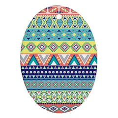 Tribal Print Oval Ornament (two Sides) by BangZart