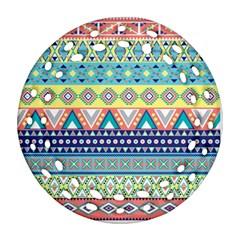 Tribal Print Round Filigree Ornament (two Sides)