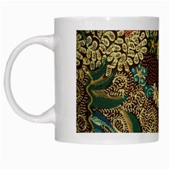 Traditional Batik Art Pattern White Mugs by BangZart