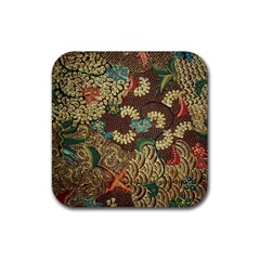 Traditional Batik Art Pattern Rubber Square Coaster (4 Pack)  by BangZart