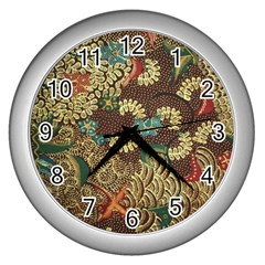 Traditional Batik Art Pattern Wall Clocks (silver)  by BangZart