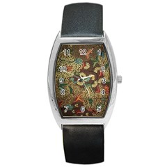 Traditional Batik Art Pattern Barrel Style Metal Watch by BangZart