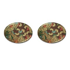 Traditional Batik Art Pattern Cufflinks (oval) by BangZart