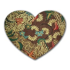 Traditional Batik Art Pattern Heart Mousepads by BangZart
