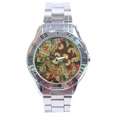 Traditional Batik Art Pattern Stainless Steel Analogue Watch