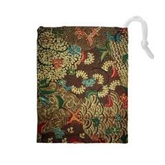Traditional Batik Art Pattern Drawstring Pouches (large)