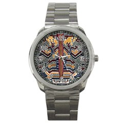 Traditional Batik Indonesia Pattern Sport Metal Watch