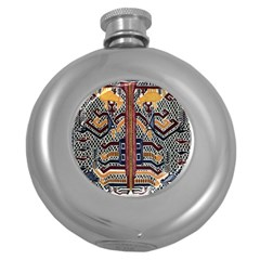 Traditional Batik Indonesia Pattern Round Hip Flask (5 Oz) by BangZart