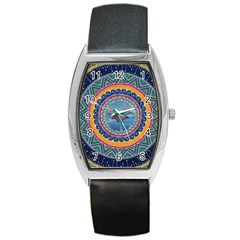 Traditional Pakistani Art Barrel Style Metal Watch by BangZart