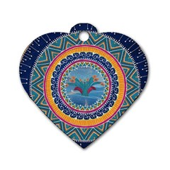 Traditional Pakistani Art Dog Tag Heart (one Side)