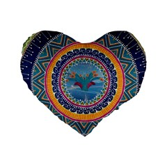 Traditional Pakistani Art Standard 16  Premium Flano Heart Shape Cushions by BangZart