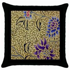 Traditional Art Batik Pattern Throw Pillow Case (black)