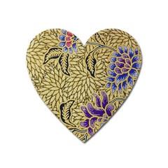 Traditional Art Batik Pattern Heart Magnet by BangZart