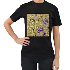 Traditional Art Batik Pattern Women s T Shirt (black) (two Sided)