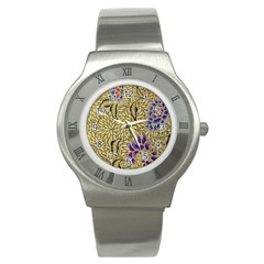 Traditional Art Batik Pattern Stainless Steel Watch