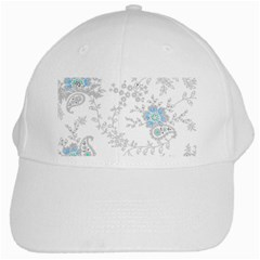 Traditional Art Batik Flower Pattern White Cap