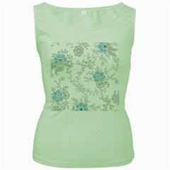 Traditional Art Batik Flower Pattern Women s Green Tank Top
