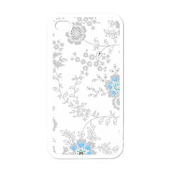 Traditional Art Batik Flower Pattern Apple Iphone 4 Case (white)
