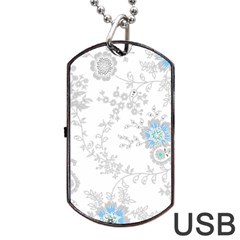 Traditional Art Batik Flower Pattern Dog Tag Usb Flash (two Sides)