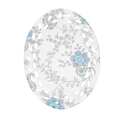 Traditional Art Batik Flower Pattern Oval Filigree Ornament (two Sides) by BangZart