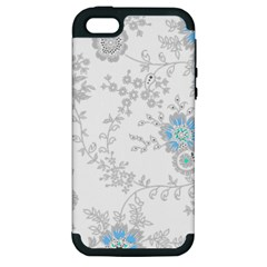 Traditional Art Batik Flower Pattern Apple Iphone 5 Hardshell Case (pc+silicone)