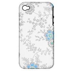 Traditional Art Batik Flower Pattern Apple Iphone 4/4s Hardshell Case (pc+silicone)
