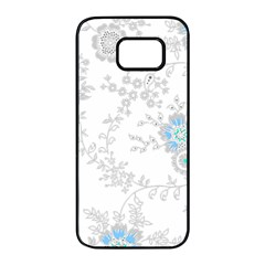 Traditional Art Batik Flower Pattern Samsung Galaxy S7 Edge Black Seamless Case