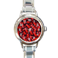 The Red Butterflies Sticking Together In The Nature Round Italian Charm Watch by BangZart