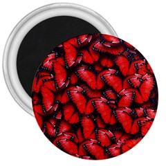 The Red Butterflies Sticking Together In The Nature 3  Magnets