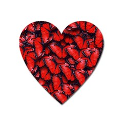 The Red Butterflies Sticking Together In The Nature Heart Magnet by BangZart