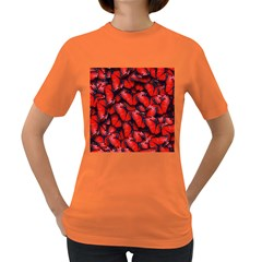 The Red Butterflies Sticking Together In The Nature Women s Dark T Shirt