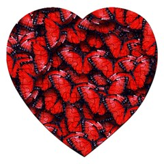 The Red Butterflies Sticking Together In The Nature Jigsaw Puzzle (heart) by BangZart