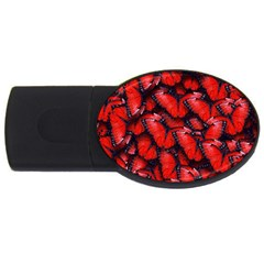 The Red Butterflies Sticking Together In The Nature Usb Flash Drive Oval (4 Gb) by BangZart
