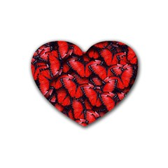 The Red Butterflies Sticking Together In The Nature Rubber Coaster (heart)  by BangZart